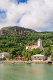 小瀑布区的, Mahe海岛,塞舌尔群岛圣安德鲁教会 图库摄影