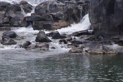 小瀑布和岩石小河在爱达荷秋天 库存图片