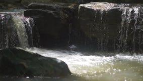 小瀑布和水流动的岩石小河  股票录像