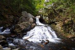 小瀑布在春天落通过峡谷的创造由冰河融解 库存照片