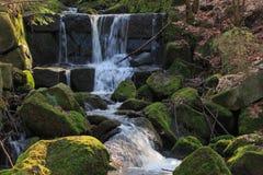 小瀑布山小河的遥远的看法 免版税库存照片