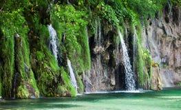 小瀑布看法在克罗地亚国家公园Plitvice湖 免版税图库摄影