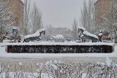 从小瀑布,耶烈万,亚美尼亚的看法 免版税库存图片