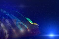 小点埃塞俄比亚旗子的逗人喜爱的高科技例证挥动在青的bokeh和地方的您的文本的-任何假日旗子3d 皇族释放例证