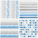 小点条纹V形臂章和十字架蓝色无缝的样式集合 免版税图库摄影