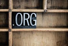 小点Org概念金属在抽屉的活版词 库存照片