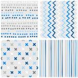 小点V形臂章十字架和条纹蓝色无缝的样式集合 免版税图库摄影
