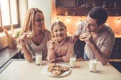 小爸爸系列藏品厨房妈妈年轻人的读取儿子 免版税图库摄影