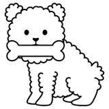 小犬座可爱与骨头 皇族释放例证