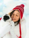 小狗和女孩 库存照片