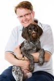 小狗和妇女 图库摄影