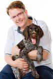 小狗和妇女 库存图片