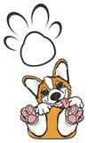 小狗和爪子一串巨大的足迹  免版税库存图片