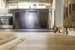 小狗在顶楼样式的厨房里 库存图片