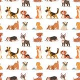 小狗逗人喜爱的使用的狗字符滑稽的纯血统可笑的愉快的哺乳动物的小狗品种无缝的样式背景传染媒介 库存例证