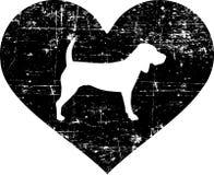 小猎犬在黑白的心脏 皇族释放例证