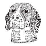 小猎犬狗头zentangle传统化了,导航,例证 向量例证