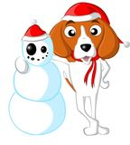 小猎犬雪人 免版税库存照片