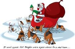 小猎犬s圣诞老人 图库摄影