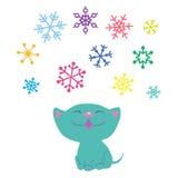 小猫和雪花 库存图片