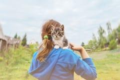小猫坐小女孩肩膀  免版税图库摄影