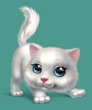 小猫路运行白色 免版税库存照片