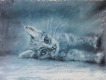小猫,画象,油画 免版税库存图片
