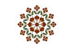 小珠框架与花圈的和与词根的被绣的橙色在白色背景的花和叶子 库存图片