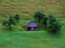 小瑞士山中的牧人小屋 免版税库存照片