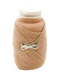 小瓶包裹与一点绷带 免版税库存图片