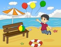 小男孩丢失了气球在海滩动画片 库存照片