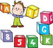 小男孩举行五颜六色的立方体机智的例证 库存照片