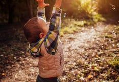 小男孩传染性的泡影在秋天森林里 库存照片