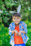 小男孩佩带的兔宝宝耳朵 库存图片