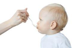 小男孩吃 免版税图库摄影