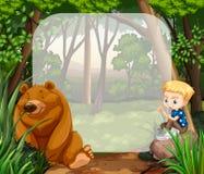 小男孩和北美灰熊在密林 向量例证