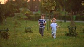 小男孩和女孩奔跑和戏剧 他们吹蒲公英 日落 股票视频