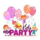 小男孩和女孩庆祝 孩子党邀请 向量例证