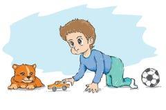 小男孩和小犬座。戏剧玩具汽车 免版税库存图片