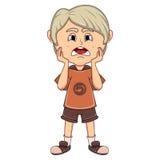 小男孩哀伤的动画片 免版税库存图片