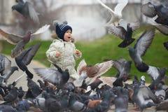 小男孩哺养的鸽子的街道画象用面包 库存图片
