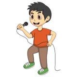 小男孩唱歌动画片 免版税库存照片