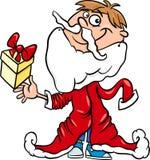 小男孩圣诞老人动画片例证 免版税库存图片