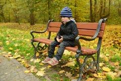 小男孩在公园在秋天 免版税图库摄影