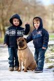 小男孩在有他们的狗朋友的公园 免版税库存照片