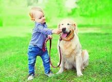 小男孩孩子使用与在草的金毛猎犬狗在夏天公园 免版税图库摄影