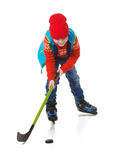 小男孩曲棍球运动员,隔绝在白色 免版税库存照片