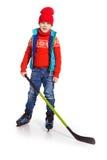小男孩曲棍球运动员,隔绝在白色 免版税图库摄影