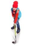 小男孩曲棍球运动员,隔绝在白色 库存照片