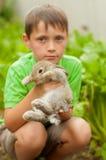 小男孩用一只兔子在手上 免版税库存图片